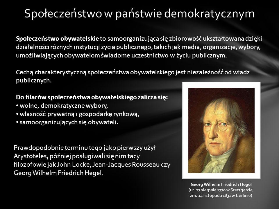 Społeczeństwo w państwie demokratycznym Społeczeństwo obywatelskie to samoorganizująca się zbiorowość ukształtowana dzięki działalności różnych instyt