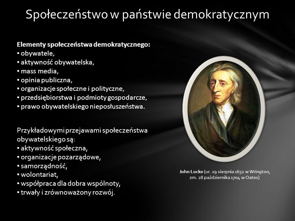 Społeczeństwo w państwie demokratycznym Elementy społeczeństwa demokratycznego: obywatele, aktywność obywatelska, mass media, opinia publiczna, organi