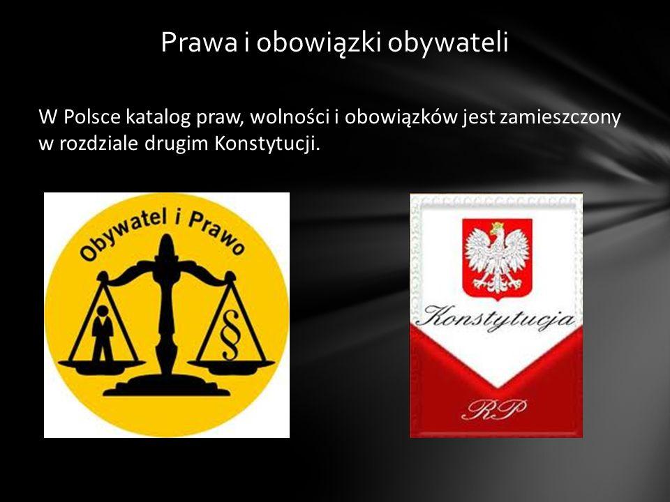 W Polsce katalog praw, wolności i obowiązków jest zamieszczony w rozdziale drugim Konstytucji. Prawa i obowiązki obywateli