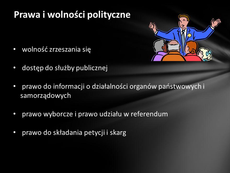 Prawa i wolności polityczne wolność zrzeszania się dostęp do służby publicznej prawo do informacji o działalności organów państwowych i samorządowych