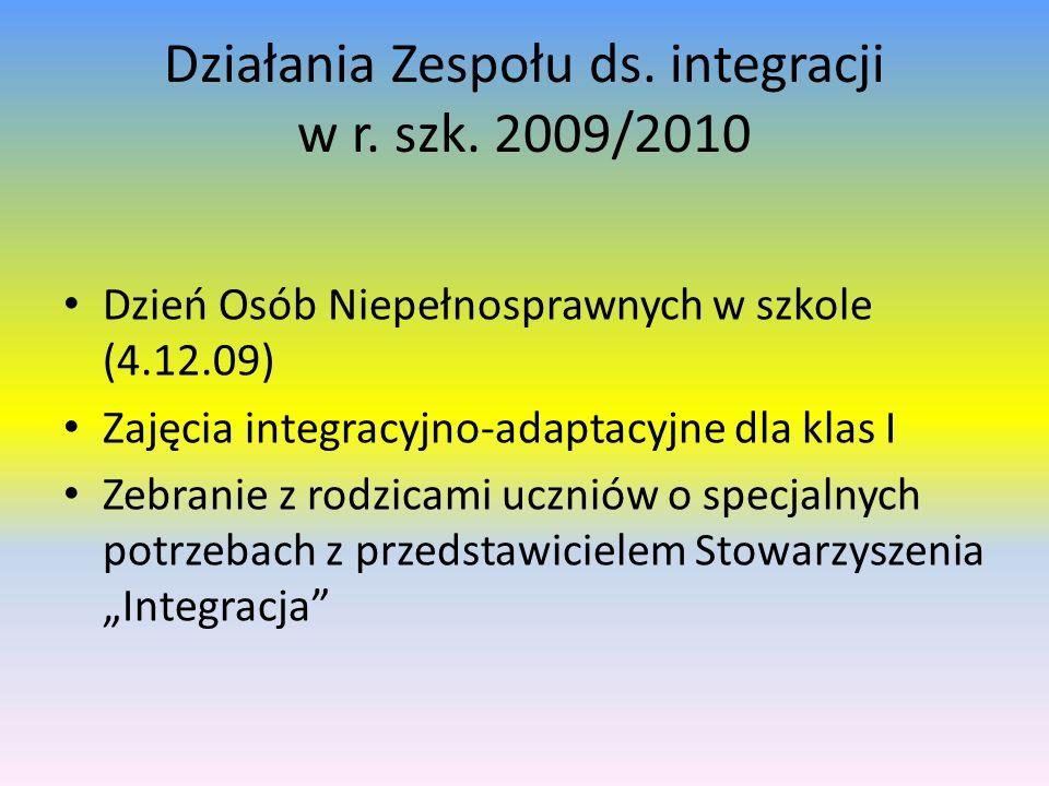 Działania Zespołu ds. integracji w r. szk. 2009/2010 Dzień Osób Niepełnosprawnych w szkole (4.12.09) Zajęcia integracyjno-adaptacyjne dla klas I Zebra