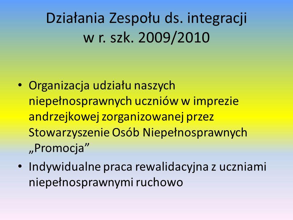Działania Zespołu ds. integracji w r. szk. 2009/2010 Organizacja udziału naszych niepełnosprawnych uczniów w imprezie andrzejkowej zorganizowanej prze