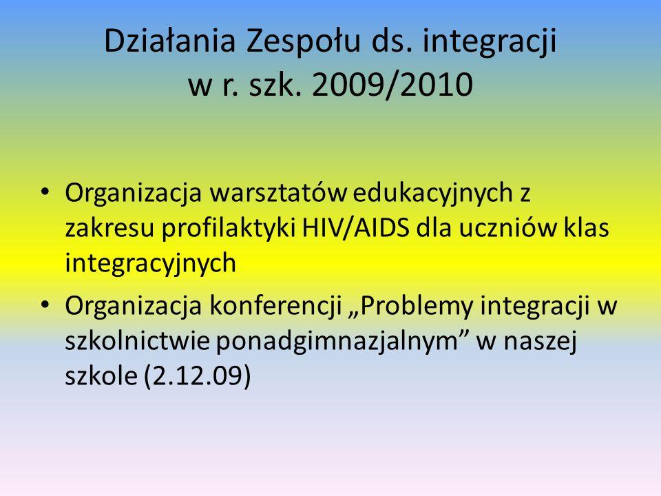 Działania Zespołu ds. integracji w r. szk. 2009/2010 Organizacja warsztatów edukacyjnych z zakresu profilaktyki HIV/AIDS dla uczniów klas integracyjny