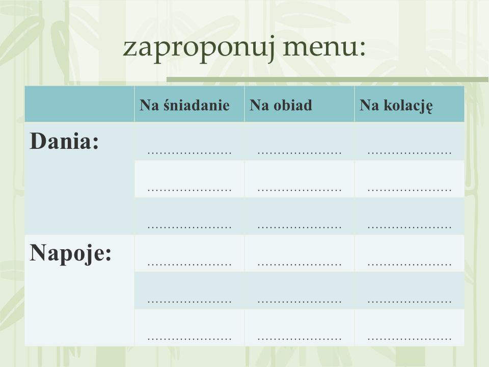 zaproponuj menu: Na śniadanieNa obiadNa kolację Dania: ………………… Napoje: …………………
