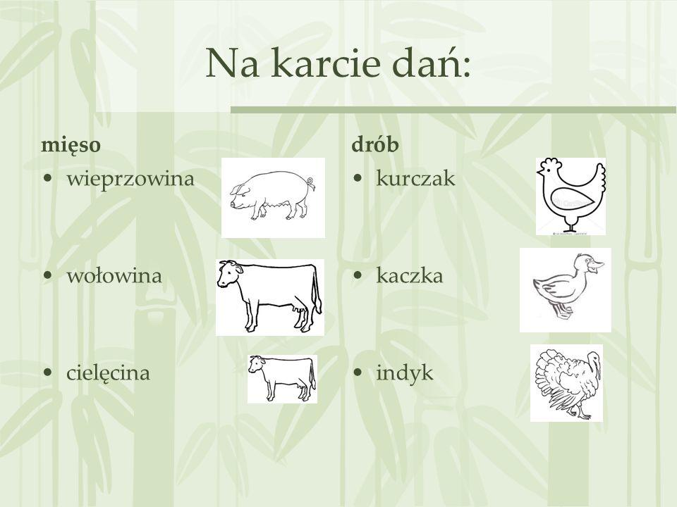 Na karcie dań: mięso wieprzowina wołowina cielęcina drób kurczak kaczka indyk