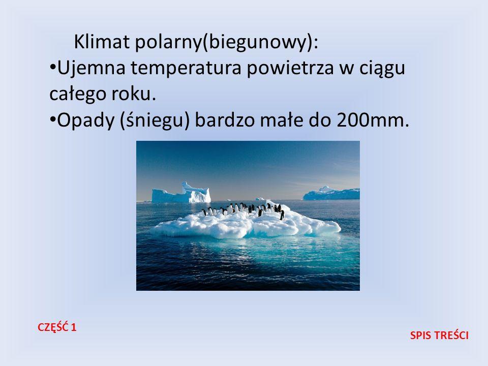 Klimat polarny(biegunowy): Ujemna temperatura powietrza w ciągu całego roku. Opady (śniegu) bardzo małe do 200mm. SPIS TREŚCI CZĘŚĆ 1