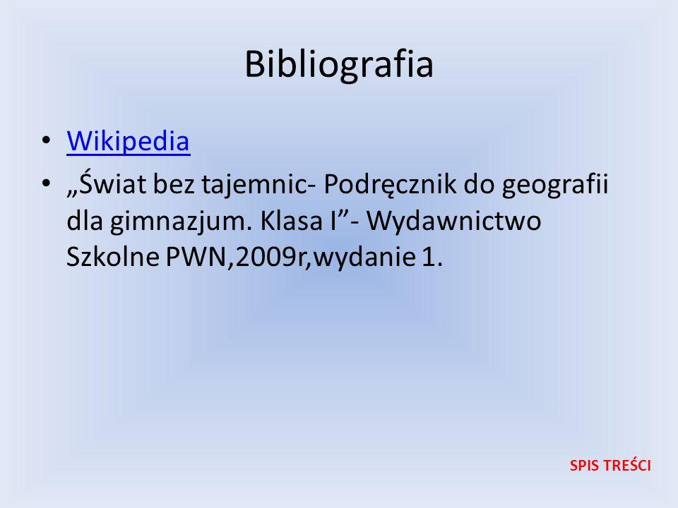 Bibliografia Wikipedia Świat bez tajemnic- Podręcznik do geografii dla gimnazjum. Klasa I- Wydawnictwo Szkolne PWN,2009r,wydanie 1. SPIS TREŚCI