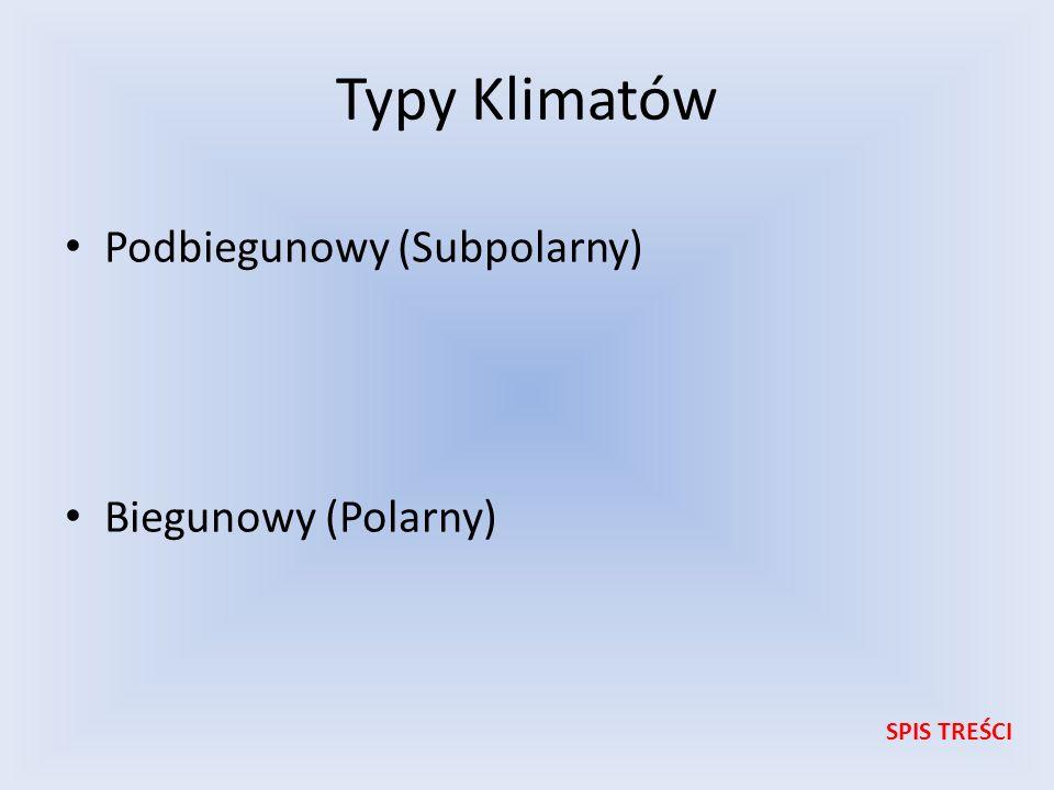 Typy Klimatów Podbiegunowy (Subpolarny) Biegunowy (Polarny) SPIS TREŚCI
