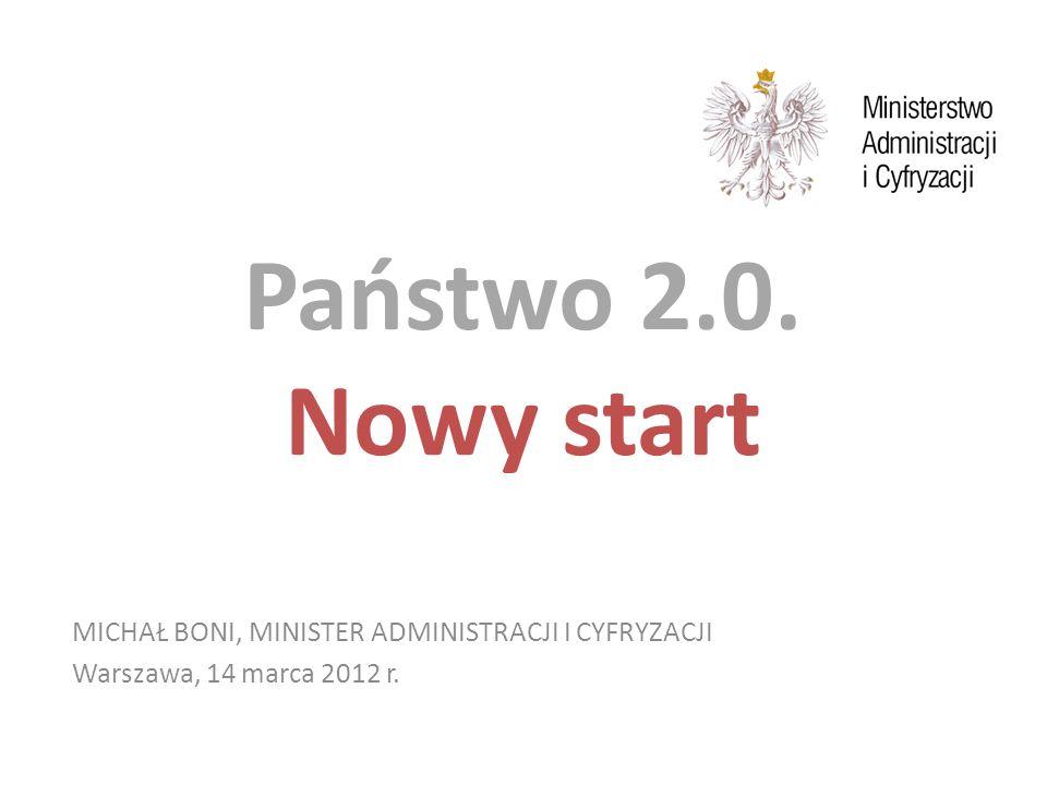 MICHAŁ BONI, MINISTER ADMINISTRACJI I CYFRYZACJI Warszawa, 14 marca 2012 r. Państwo 2.0. Nowy start