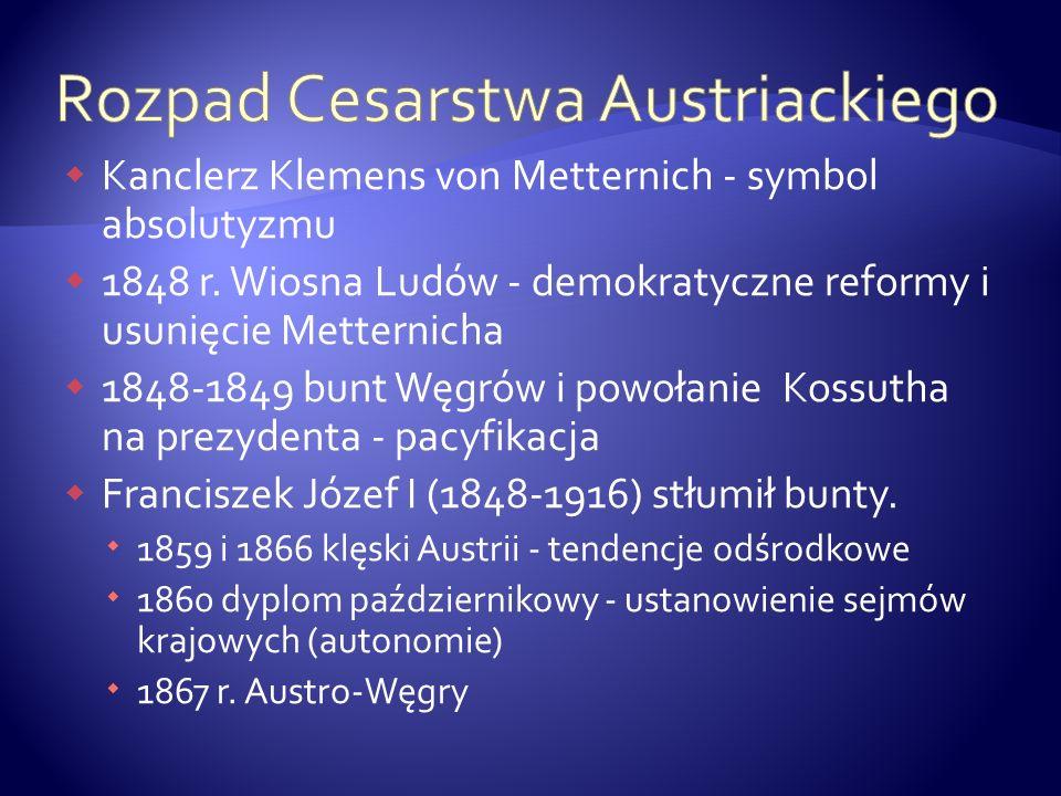 Kanclerz Klemens von Metternich - symbol absolutyzmu 1848 r. Wiosna Ludów - demokratyczne reformy i usunięcie Metternicha 1848-1849 bunt Węgrów i powo