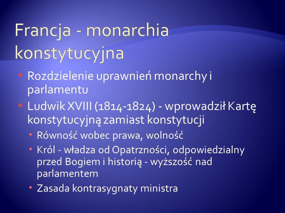 Rozdzielenie uprawnień monarchy i parlamentu Ludwik XVIII (1814-1824) - wprowadził Kartę konstytucyjną zamiast konstytucji Równość wobec prawa, wolnoś