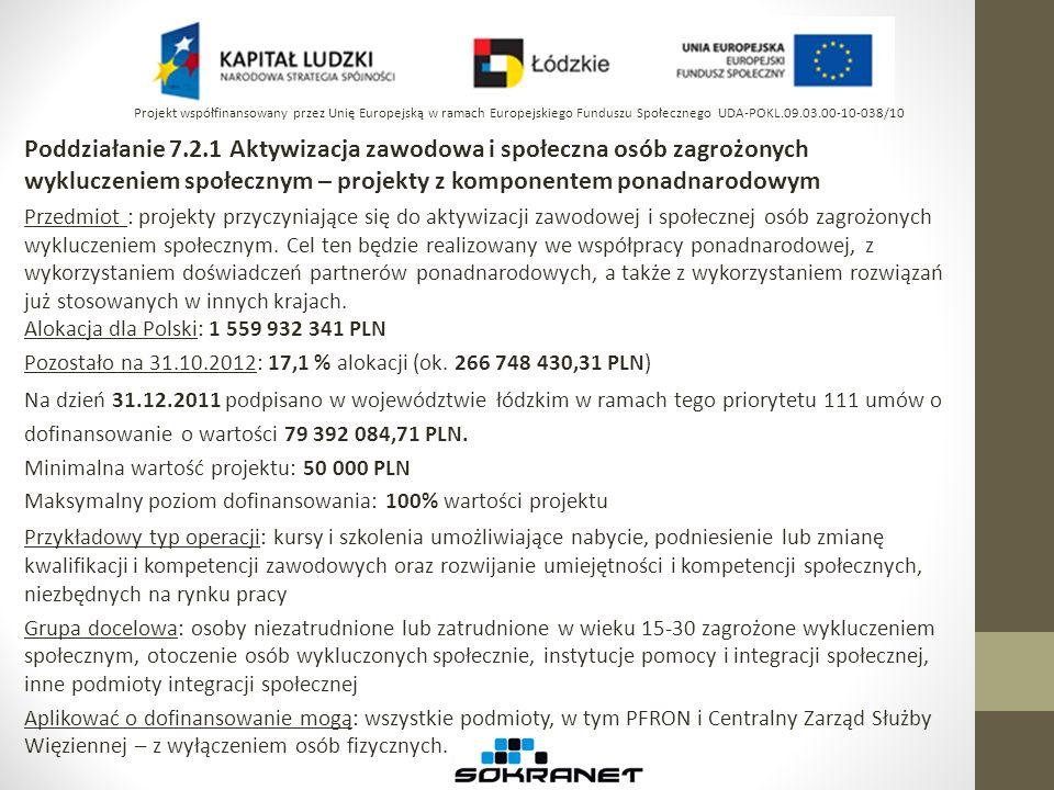 Poddziałanie 7.2.1 Aktywizacja zawodowa i społeczna osób zagrożonych wykluczeniem społecznym – projekty z komponentem ponadnarodowym Przedmiot : proje