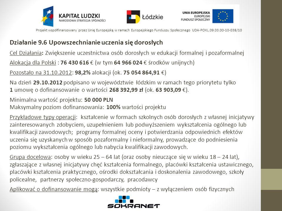 Poddziałanie 8.1.1 Wspieranie rozwoju kwalifikacji zawodowych i doradztwo dla przedsiębiorstw Cel Działania 8.1: Podniesienie i dostosowanie kwalifikacji i umiejętności osób pracujących do potrzeb regionalnej gospodarki Alokacja na 8.1 dla Polski : 1 337 163 824 (w tym 1 136 589 250 środków unijnych) Pozostało na 31.10.2012: 17% alokacji (ok.