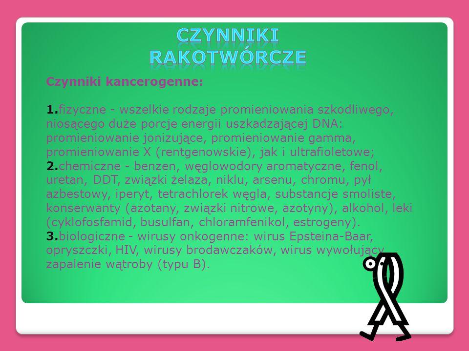 Czynniki kancerogenne: 1.fizyczne - wszelkie rodzaje promieniowania szkodliwego, niosącego duże porcje energii uszkadzającej DNA: promieniowanie joniz