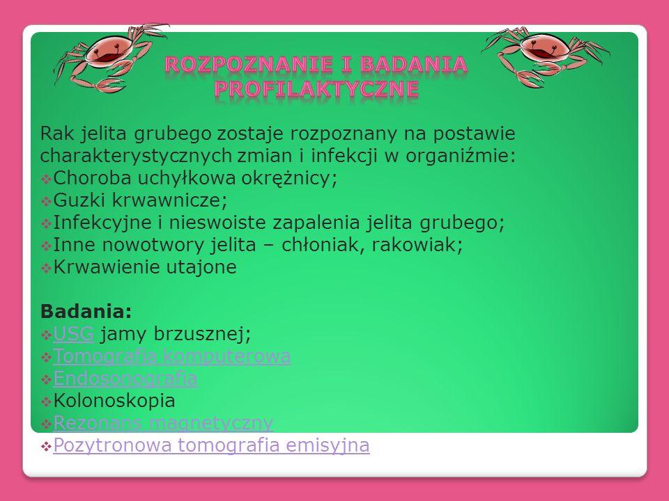 Rak jelita grubego zostaje rozpoznany na postawie charakterystycznych zmian i infekcji w organiźmie: Choroba uchyłkowa okrężnicy; Guzki krwawnicze; In