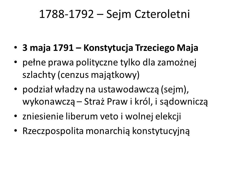 1788-1792 – Sejm Czteroletni 3 maja 1791 – Konstytucja Trzeciego Maja pełne prawa polityczne tylko dla zamożnej szlachty (cenzus majątkowy) podział wł