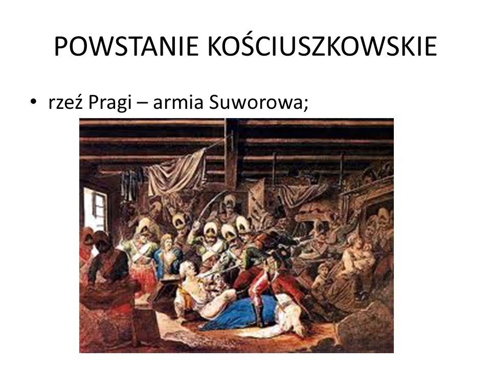 POWSTANIE KOŚCIUSZKOWSKIE rzeź Pragi – armia Suworowa;