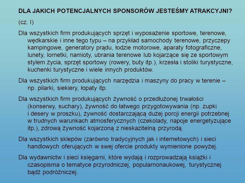 DLA JAKICH POTENCJALNYCH SPONSORÓW JESTEŚMY ATRAKCYJNI? (cz. I) Dla wszystkich firm produkujących sprzęt i wyposażenie sportowe, terenowe, wędkarskie