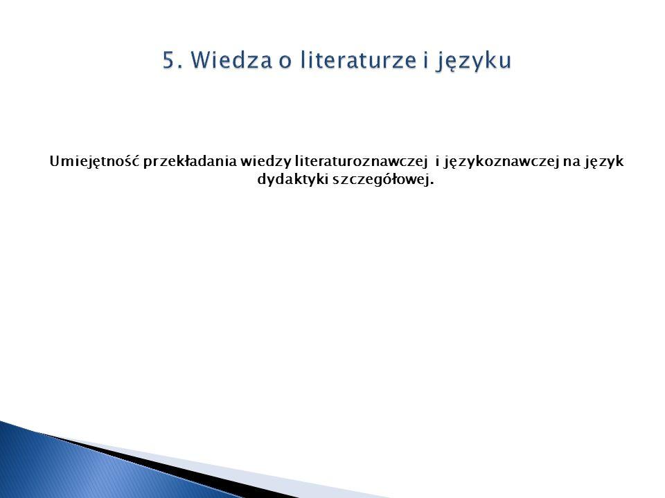 Umiejętność przekładania wiedzy literaturoznawczej i językoznawczej na język dydaktyki szczegółowej.