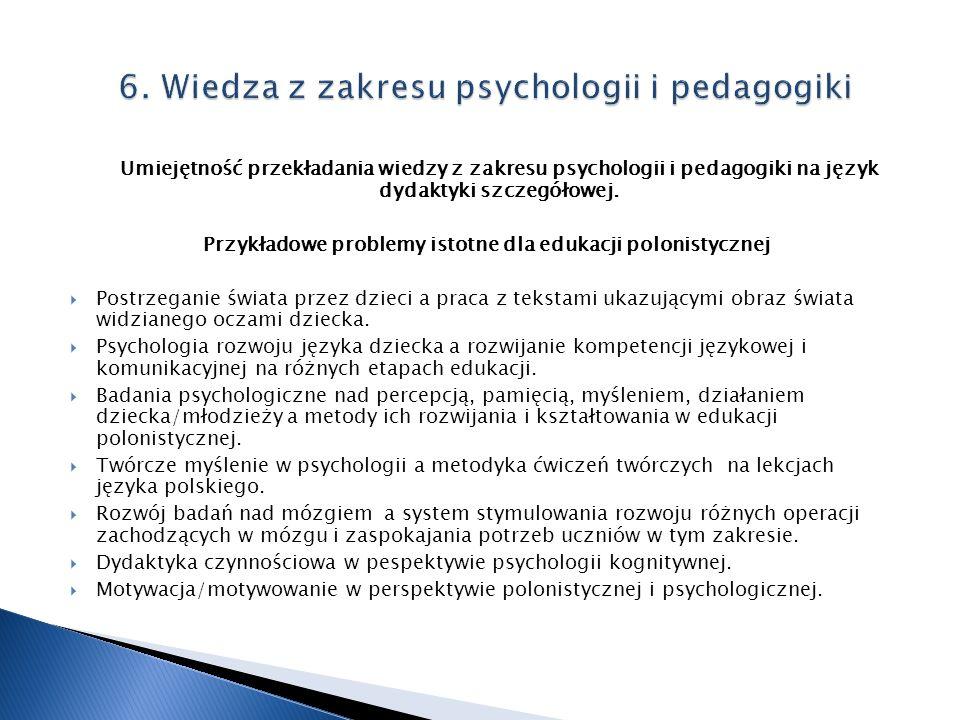 Umiejętność przekładania wiedzy z zakresu psychologii i pedagogiki na język dydaktyki szczegółowej. Przykładowe problemy istotne dla edukacji polonist