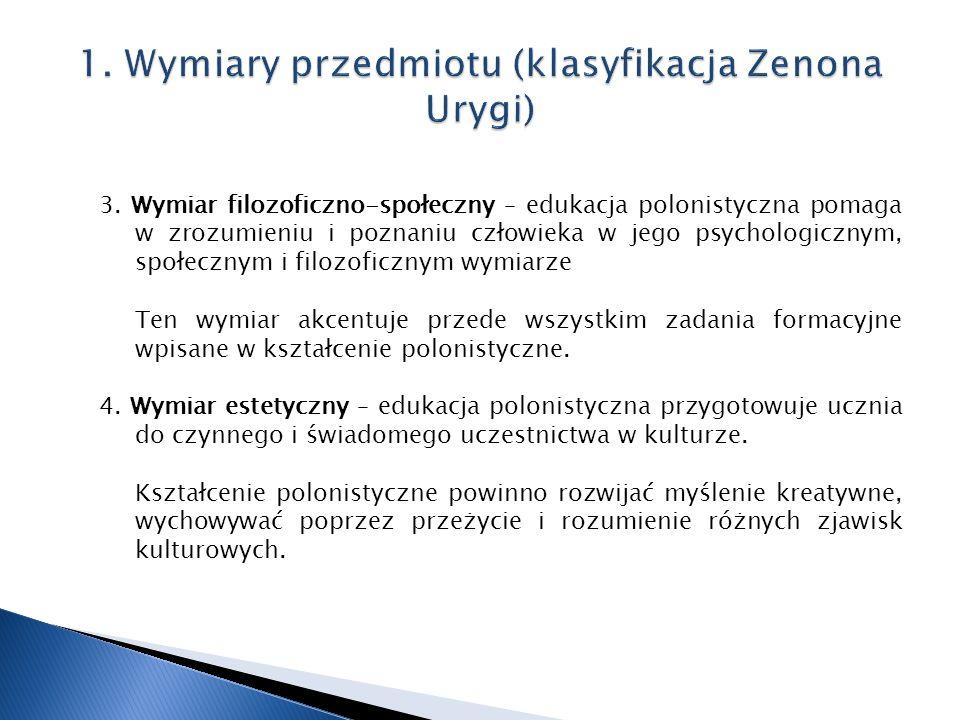 3. Wymiar filozoficzno-społeczny – edukacja polonistyczna pomaga w zrozumieniu i poznaniu człowieka w jego psychologicznym, społecznym i filozoficznym