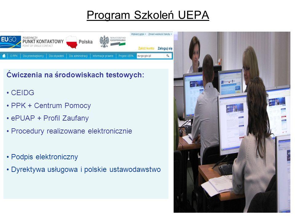 Program Szkoleń UEPA Ćwiczenia na środowiskach testowych: CEIDG PPK + Centrum Pomocy ePUAP + Profil Zaufany Procedury realizowane elektronicznie Podpi
