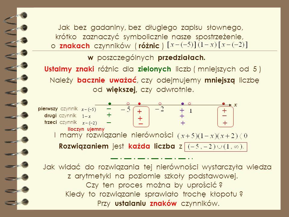 * za pomocą krzywej znaków Rozwiązaniem nierówności jest każda liczba z Widać, że dla dużych x-sów ( większych od ) wartości ilorazu są dodatnie, dlatego krzywą znaków kreślimy od końca i od góry, na przemian przez miejsca zerowe.
