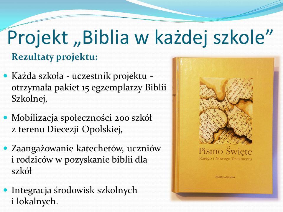 Projekt Biblia w każdej szkole Rezultaty projektu: Każda szkoła - uczestnik projektu - otrzymała pakiet 15 egzemplarzy Biblii Szkolnej, Mobilizacja sp