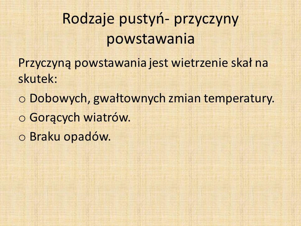 Rodzaje pustyń Piaszczysta- erg Żwirowa- serir Kamienista- hamada W krajobrazie występują również: Rzeki okresowe Uedy Słone jeziora