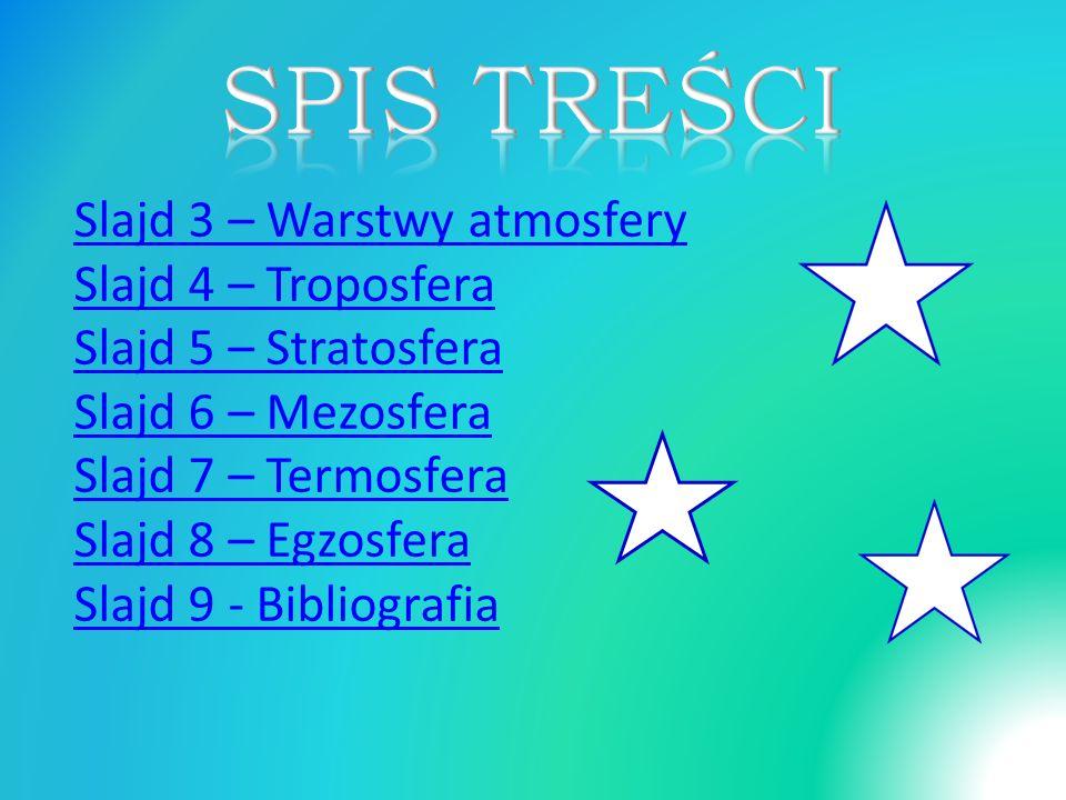 Slajd 3 – Warstwy atmosfery Slajd 4 – Troposfera Slajd 5 – Stratosfera Slajd 6 – Mezosfera Slajd 7 – Termosfera Slajd 8 – Egzosfera Slajd 9 - Bibliografia
