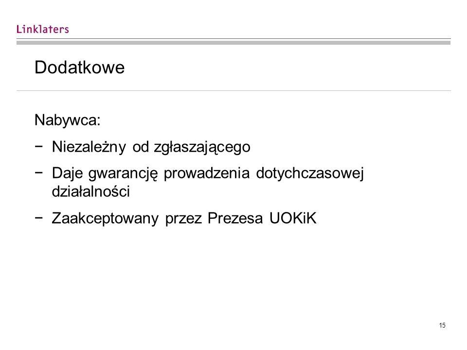 14 Sporadycznie behawioralne Niepodejmowanie przez Multikino działań zmierzających do nabycia praw do kina wielosalowego przez cały czas posiadania przez Multikino kontroli nad innym kinem wielosalowym w Gdyni (decyzja nr DKK-49/08, Multikino/Silver Screen) Doprowadzenie do zaniechania sprzedaży dżemów pod określoną marką (decyzja nr DKK-9/09, Agros Nova/Kotlin) Utrzymanie udziałów rynkowych produktów objętych warunkiem na poziomie co najmniej 70% średniego udziału w rynku w ostatnich dwóch latach, w okresie do czasu wykonania warunku zbycia majątku (decyzja nr DKK 23/12, Polpharma/Polfa)