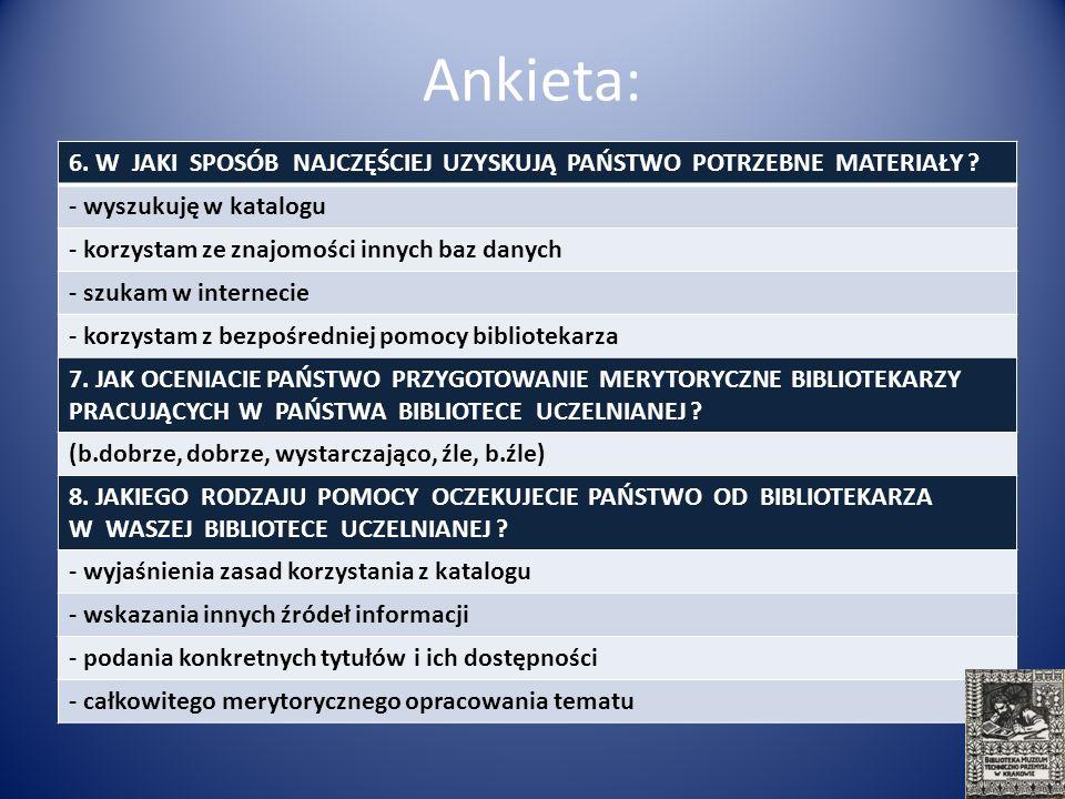 Materiał i metodyka: biblioteki 3 uczelni artystycznych w Krakowie 150 respondentów (czytelnicy, proszeni przez bibliotekarza o wypełnienie ankiety)
