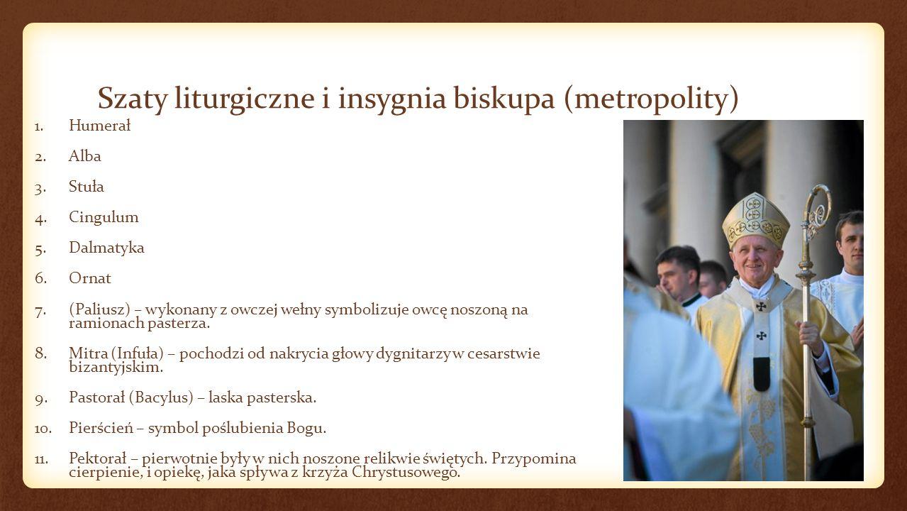 Inne szaty liturgiczne - wybór 1.Racjonał - to specjalny, ozdobny paliusz, którego prawo noszenia nadawał papież.