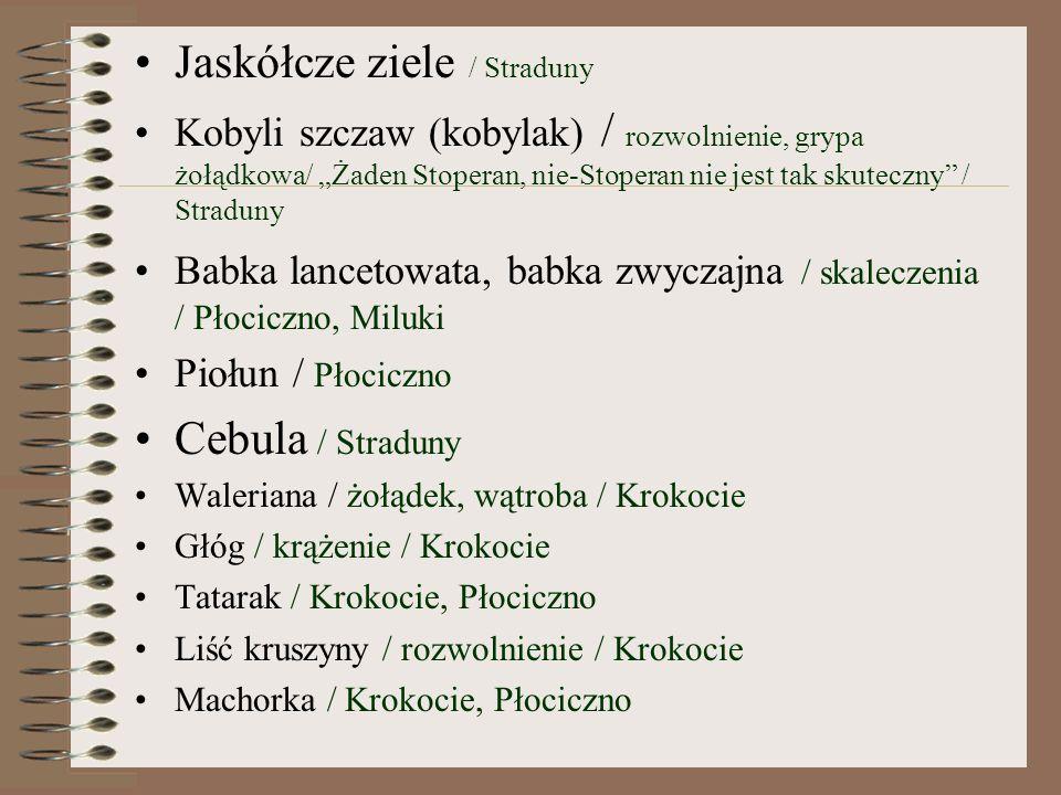 Jaskółcze ziele / Straduny Kobyli szczaw (kobylak) / rozwolnienie, grypa żołądkowa/ Żaden Stoperan, nie-Stoperan nie jest tak skuteczny / Straduny Babka lancetowata, babka zwyczajna / skaleczenia / Płociczno, Miluki Piołun / Płociczno Cebula / Straduny Waleriana / żołądek, wątroba / Krokocie Głóg / krążenie / Krokocie Tatarak / Krokocie, Płociczno Liść kruszyny / rozwolnienie / Krokocie Machorka / Krokocie, Płociczno