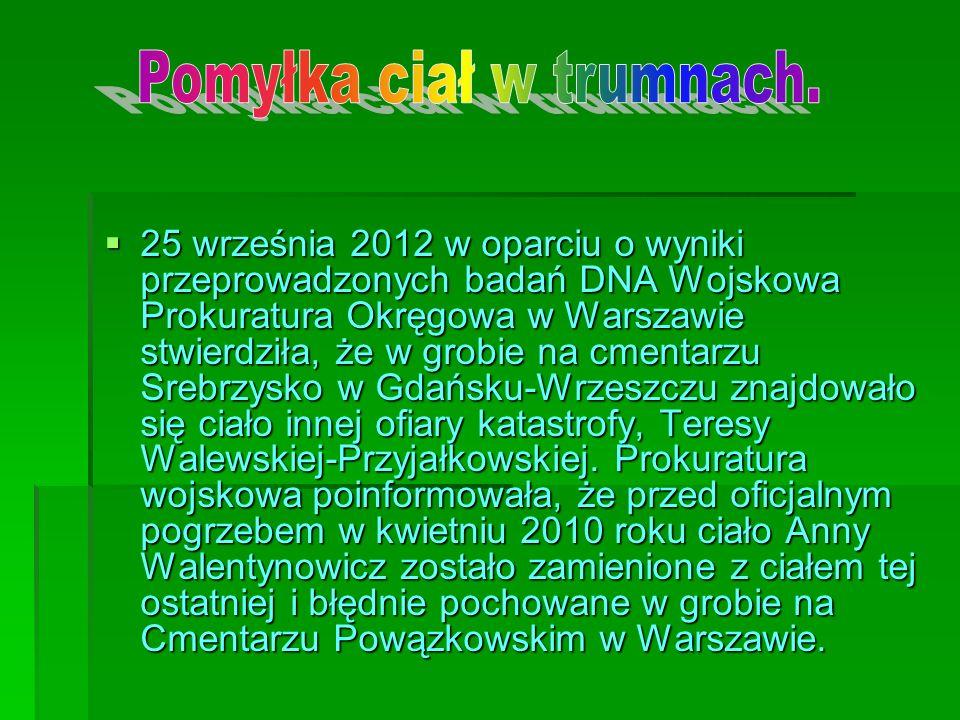 25 września 2012 w oparciu o wyniki przeprowadzonych badań DNA Wojskowa Prokuratura Okręgowa w Warszawie stwierdziła, że w grobie na cmentarzu Srebrzy