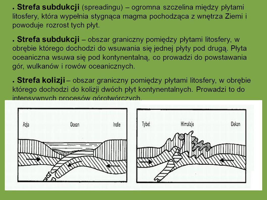 Strefa subdukcji (spreadingu) – ogromna szczelina między płytami litosfery, która wypełnia stygnąca magma pochodząca z wnętrza Ziemi i powoduje rozros
