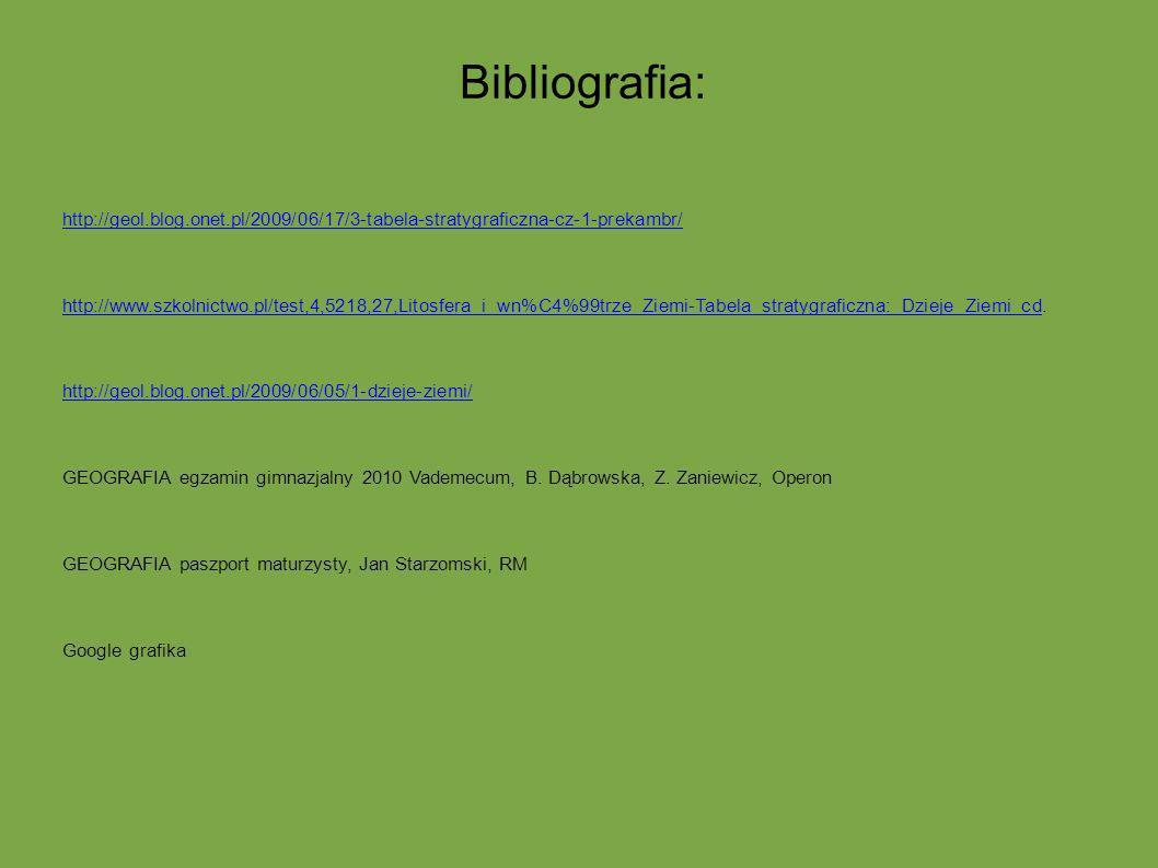 Bibliografia: http://geol.blog.onet.pl/2009/06/17/3-tabela-stratygraficzna-cz-1-prekambr/ http://www.szkolnictwo.pl/test,4,5218,27,Litosfera_i_wn%C4%9
