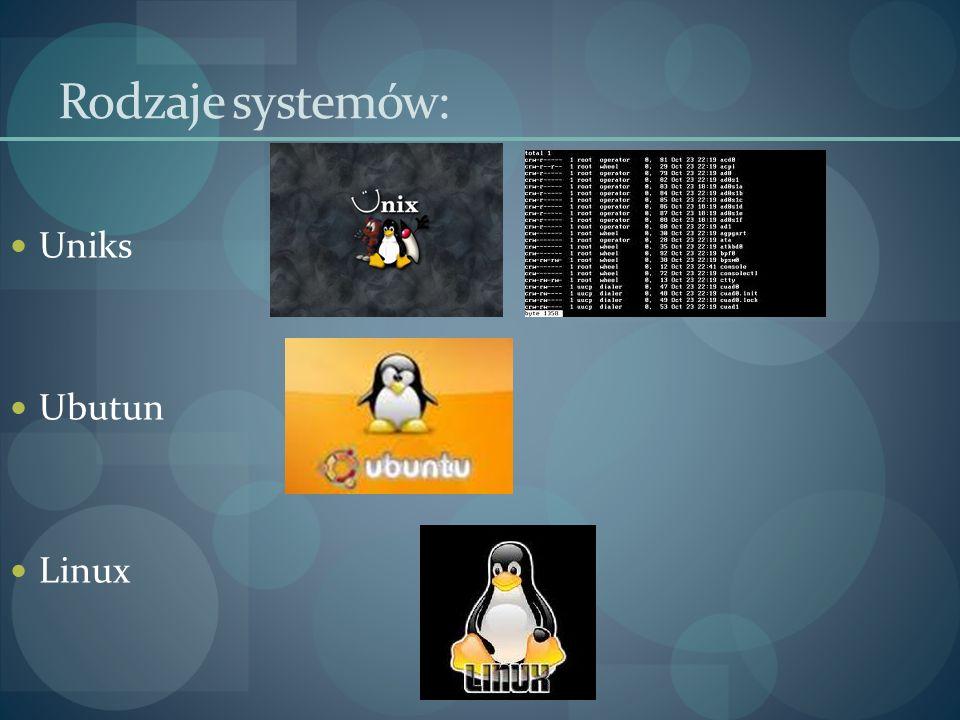 Uniks Ubutun Linux Rodzaje systemów: