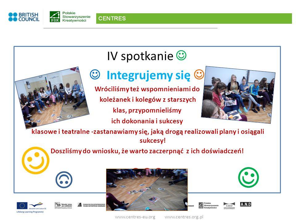 www.centres-eu.org www.centres.org.pl IV spotkanie Integrujemy się Wróciliśmy też wspomnieniami do koleżanek i kolegów z starszych klas, przypomnieliśmy ich dokonania i sukcesy klasowe i teatralne -zastanawiamy się, jaką drogą realizowali plany i osiągali sukcesy.