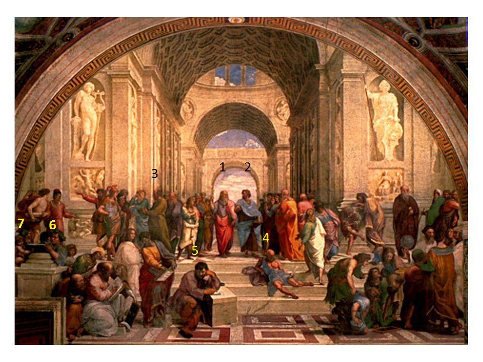1 –Platon, 2 – Arystoteles, 3 – Sokrates, 4 – Diogenes, 5 – Heraklit, 6 – Epikur, 7 – Zenon z Kition
