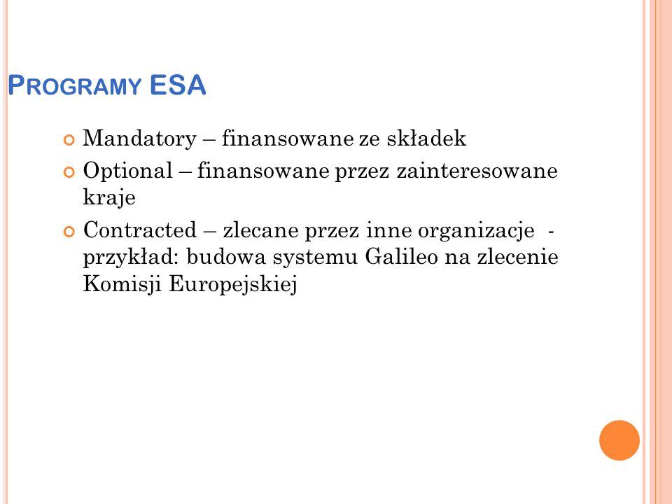 P ROGRAMY ESA Mandatory – finansowane ze składek Optional – finansowane przez zainteresowane kraje Contracted – zlecane przez inne organizacje - przykład: budowa systemu Galileo na zlecenie Komisji Europejskiej