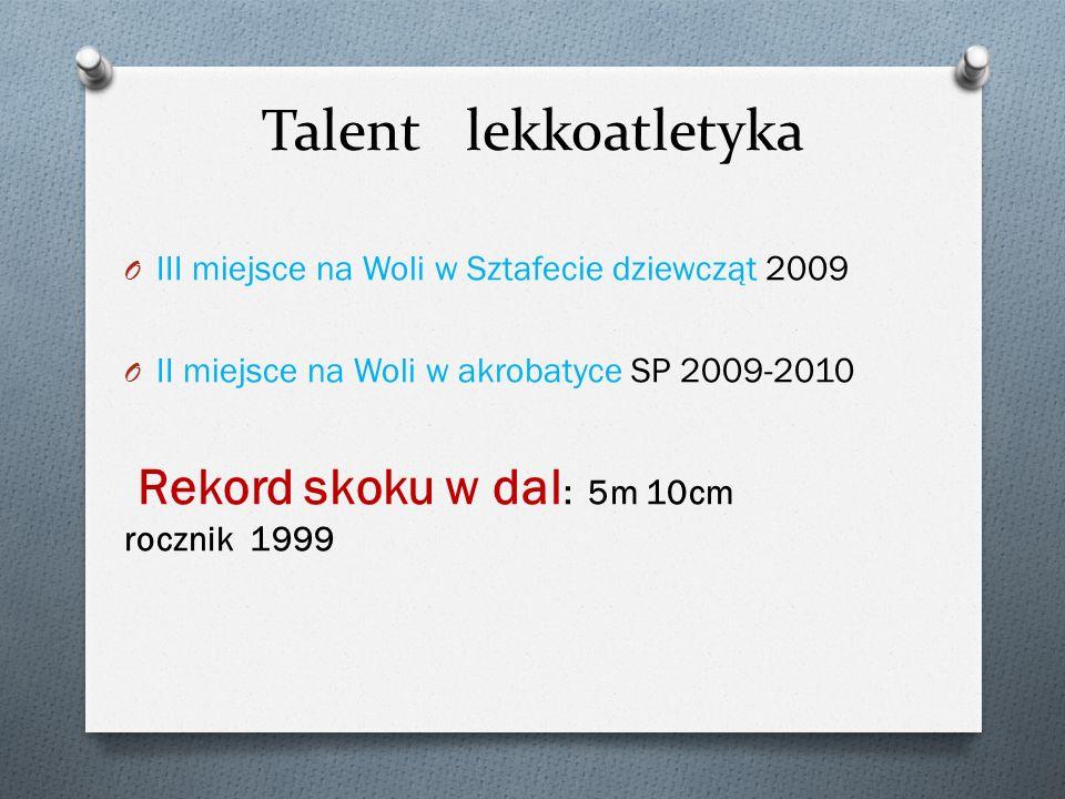 Talent lekkoatletyka O III miejsce na Woli w Sztafecie dziewcząt 2009 O II miejsce na Woli w akrobatyce SP 2009-2010 Rekord skoku w dal : 5m 10cm rocz