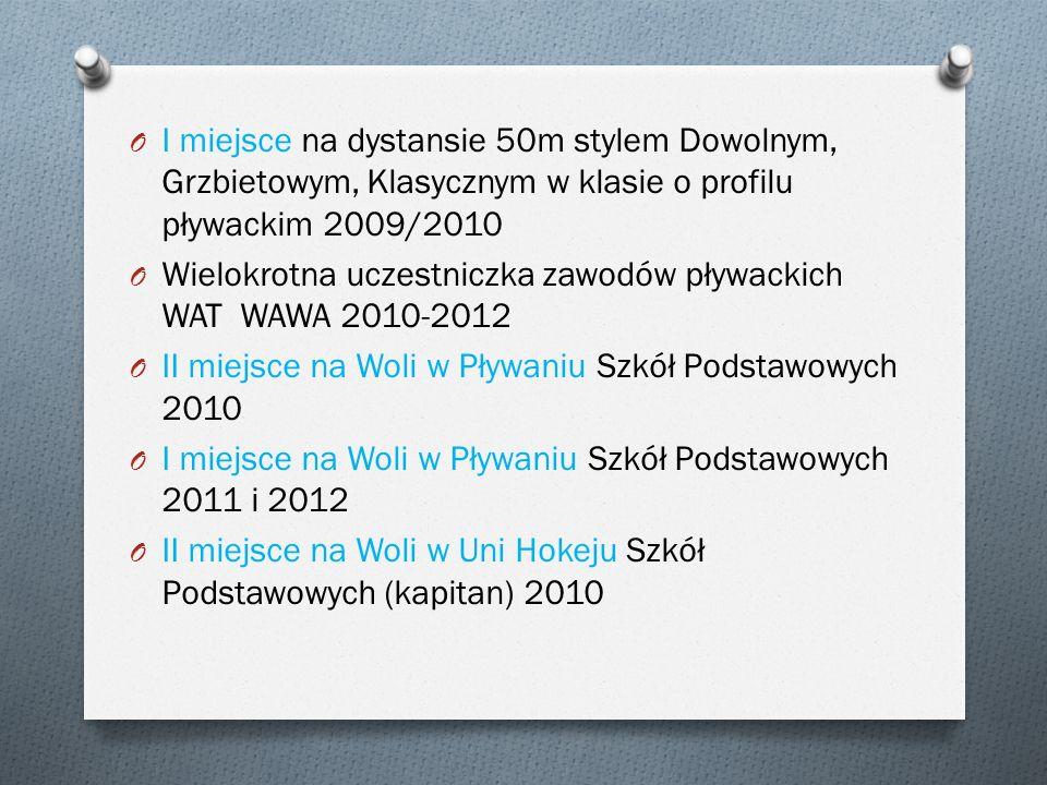 O I miejsce na dystansie 50m stylem Dowolnym, Grzbietowym, Klasycznym w klasie o profilu pływackim 2009/2010 O Wielokrotna uczestniczka zawodów pływac