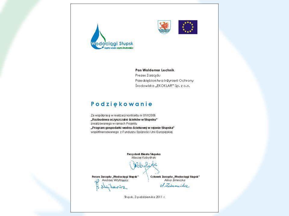 KONTRAKT nr 01/III/2006 Budowa sieci kanalizacji ściekowej w Słupsku Wykonawca: HYDROBUDOWA POLSKA S.A.
