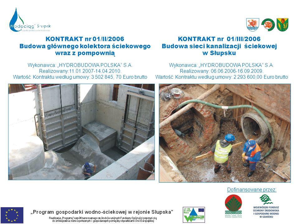 KONTRAKT nr 01/III/2006 Budowa sieci kanalizacji ściekowej w Słupsku Wykonawca: HYDROBUDOWA POLSKA S.A. Realizowany: 06.06.2006-16.09.2009. Wartość Ko