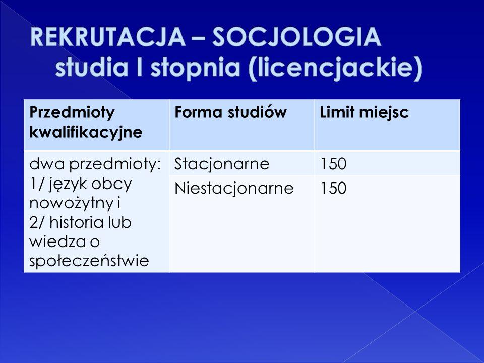 Przedmioty kwalifikacyjne Forma studiówLimit miejsc dwa przedmioty: 1/ język obcy nowożytny i 2/ historia lub wiedza o społeczeństwie Stacjonarne150 N