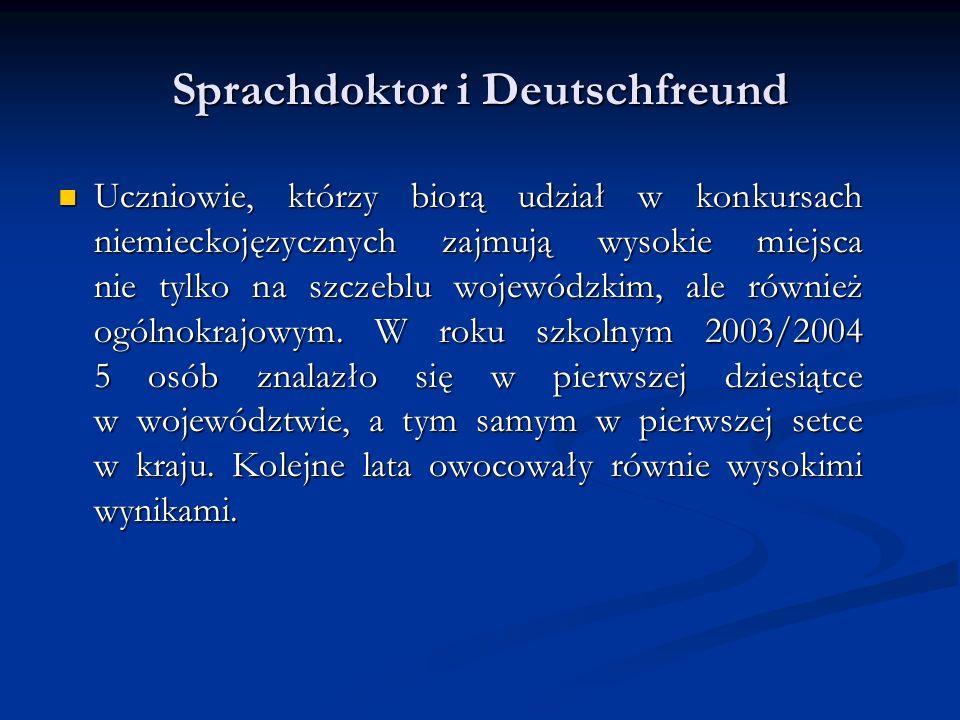 Sprachdoktor i Deutschfreund Uczniowie, którzy biorą udział w konkursach niemieckojęzycznych zajmują wysokie miejsca nie tylko na szczeblu wojewódzkim, ale również ogólnokrajowym.