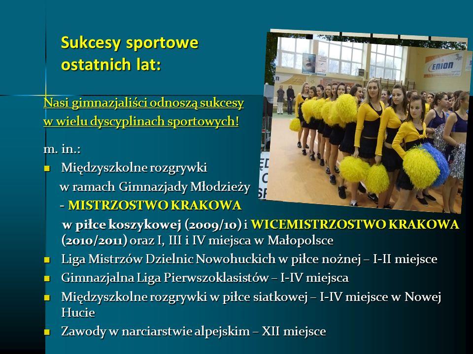 Sukcesy sportowe ostatnich lat: Sukcesy sportowe ostatnich lat: Nasi gimnazjaliści odnoszą sukcesy w wielu dyscyplinach sportowych! m. in.: Międzyszko