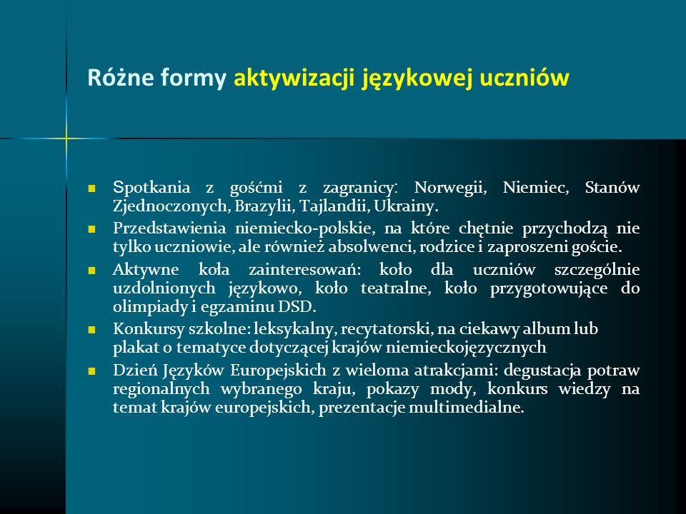 Różne formy aktywizacji językowej uczniów S potkania z gośćmi z zagranicy : Norwegii, Niemiec, Stanów Zjednoczonych, Brazylii, Tajlandii, Ukrainy. Prz