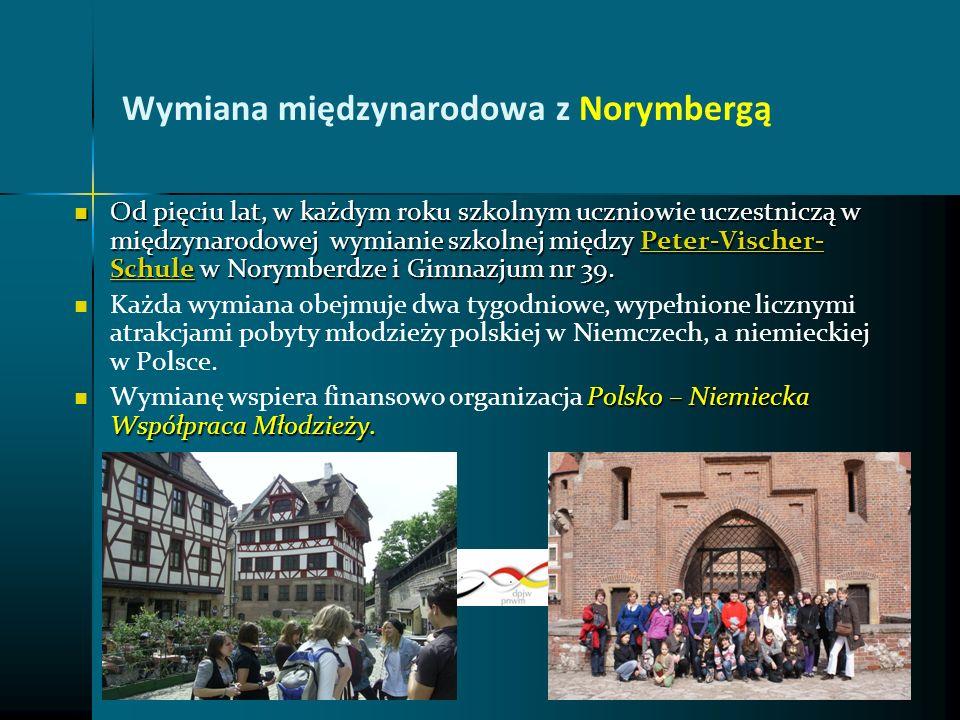 Wymiana międzynarodowa z Norymbergą Od pięciu lat, w każdym roku szkolnym uczniowie uczestniczą w międzynarodowej wymianie szkolnej między Peter-Visch